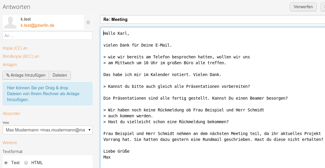 E-Mail im Text-Format